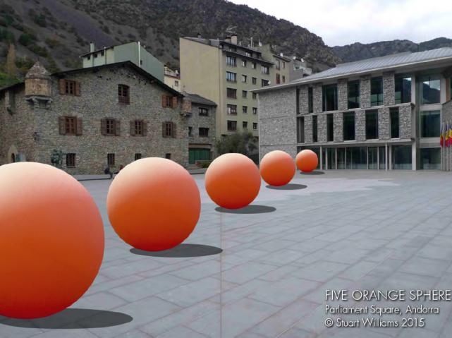 Five Orange Spheres, escultura del nord-americà Stuart Williams que es col·locarà a la plaça del Consell General d'Andorra